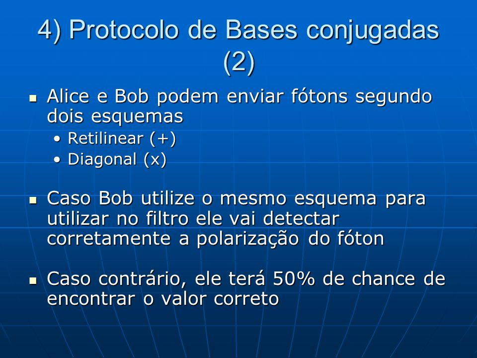 4) Protocolo de Bases conjugadas (2) Alice e Bob podem enviar fótons segundo dois esquemas Alice e Bob podem enviar fótons segundo dois esquemas Retilinear (+)Retilinear (+) Diagonal (x)Diagonal (x) Caso Bob utilize o mesmo esquema para utilizar no filtro ele vai detectar corretamente a polarização do fóton Caso Bob utilize o mesmo esquema para utilizar no filtro ele vai detectar corretamente a polarização do fóton Caso contrário, ele terá 50% de chance de encontrar o valor correto Caso contrário, ele terá 50% de chance de encontrar o valor correto