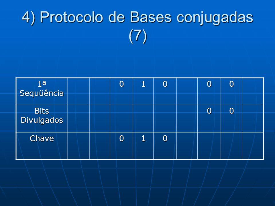 4) Protocolo de Bases conjugadas (7) 1ª Sequüência 01000 Bits Divulgados 00 Chave010