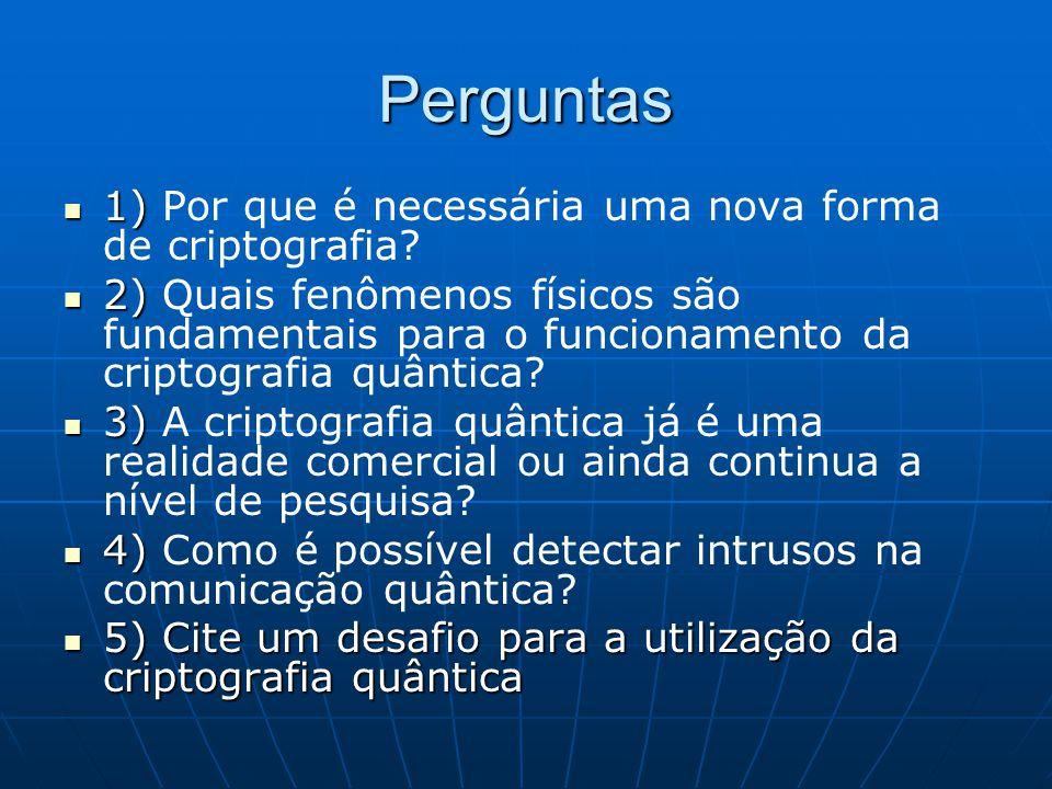 Perguntas 1) 1) Por que é necessária uma nova forma de criptografia? 2) 2) Quais fenômenos físicos são fundamentais para o funcionamento da criptograf
