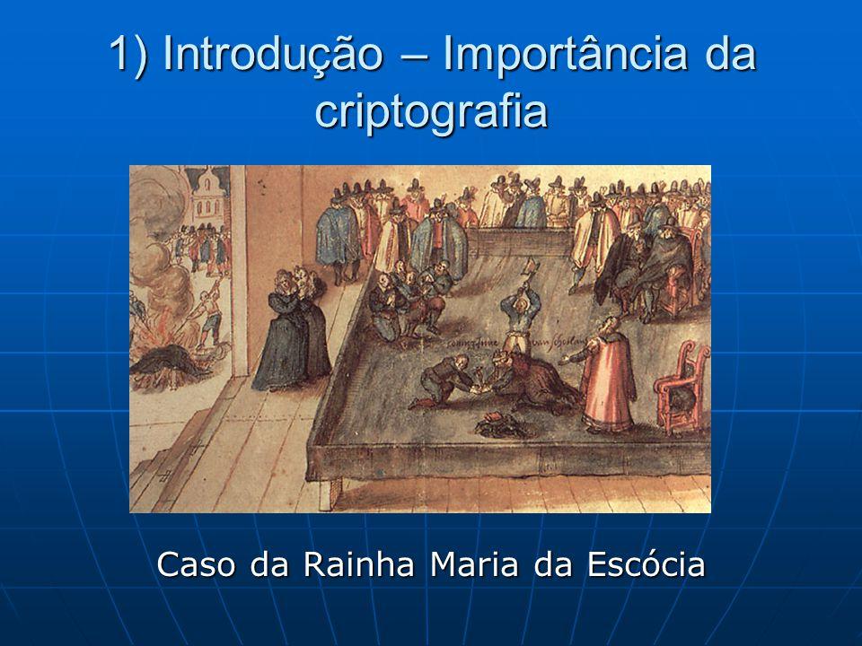 1) Introdução – Importância da criptografia Caso da Rainha Maria da Escócia