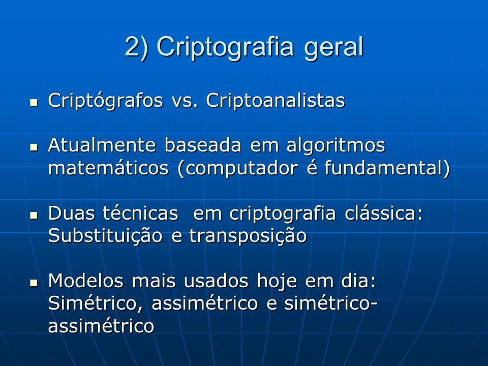 2) Criptografia geral Criptógrafos vs. Criptoanalistas Criptógrafos vs. Criptoanalistas Atualmente baseada em algoritmos matemáticos (computador é fun