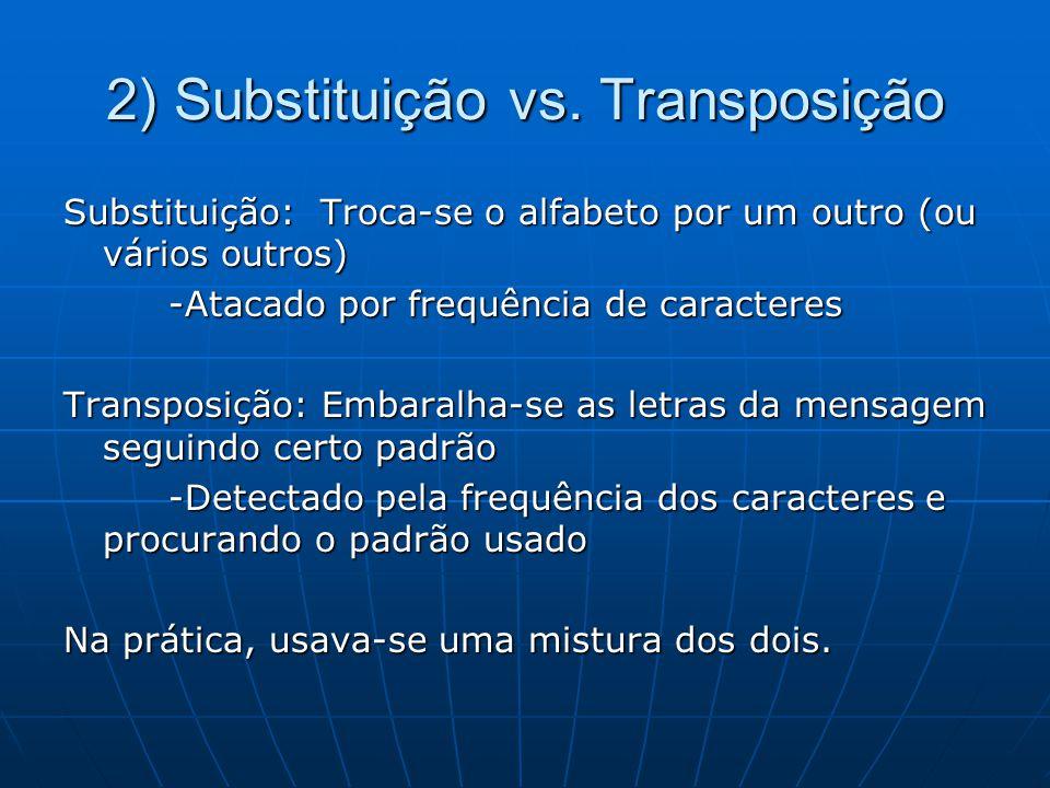 2) Substituição vs. Transposição Substituição: Troca-se o alfabeto por um outro (ou vários outros) -Atacado por frequência de caracteres Transposição: