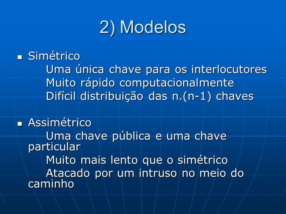 2) Modelos Simétrico Simétrico Uma única chave para os interlocutores Muito rápido computacionalmente Difícil distribuição das n.(n-1) chaves Assimétr