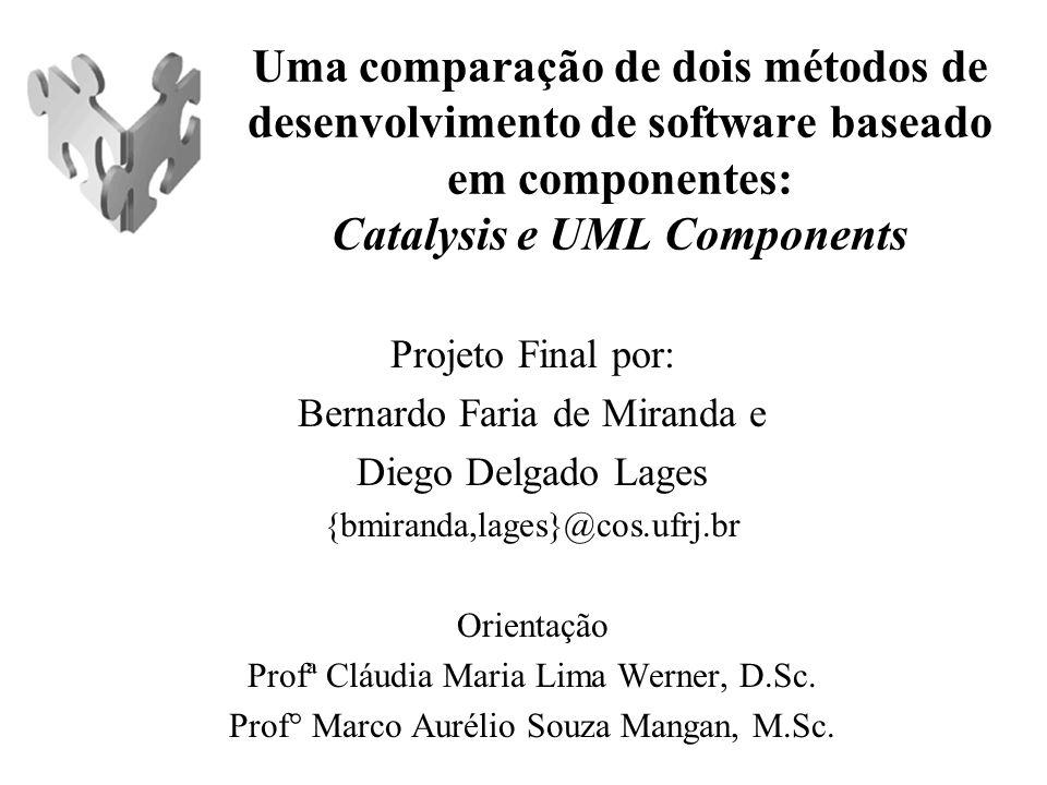 Bacharelado em Informática - DCC IM/UFRJ - Outubro de 2003 2 Roteiro Motivação Objetivo Método de trabalho Visão geral de um método de DBC Catalysis UML Components Comparação Considerações finais