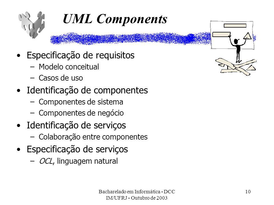 Bacharelado em Informática - DCC IM/UFRJ - Outubro de 2003 10 UML Components Especificação de requisitos –Modelo conceitual –Casos de uso Identificaçã