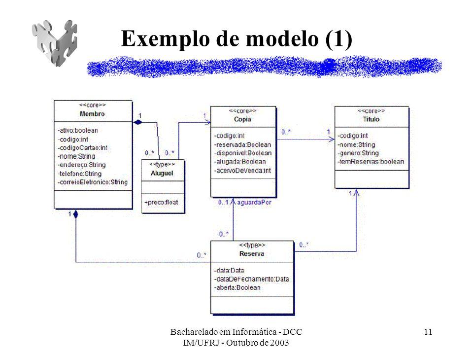 Bacharelado em Informática - DCC IM/UFRJ - Outubro de 2003 11 Exemplo de modelo (1)