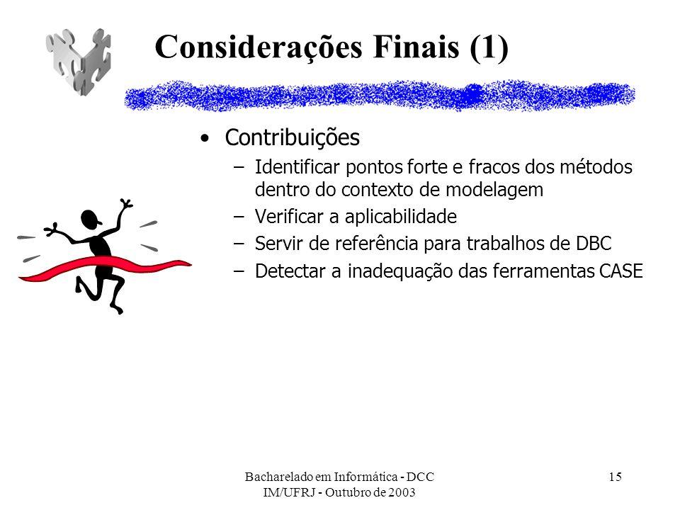 Bacharelado em Informática - DCC IM/UFRJ - Outubro de 2003 15 Considerações Finais (1) Contribuições –Identificar pontos forte e fracos dos métodos de