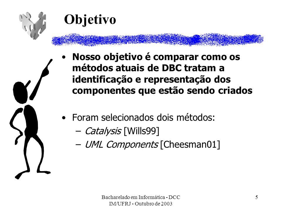 Bacharelado em Informática - DCC IM/UFRJ - Outubro de 2003 5 Objetivo Nosso objetivo é comparar como os métodos atuais de DBC tratam a identificação e