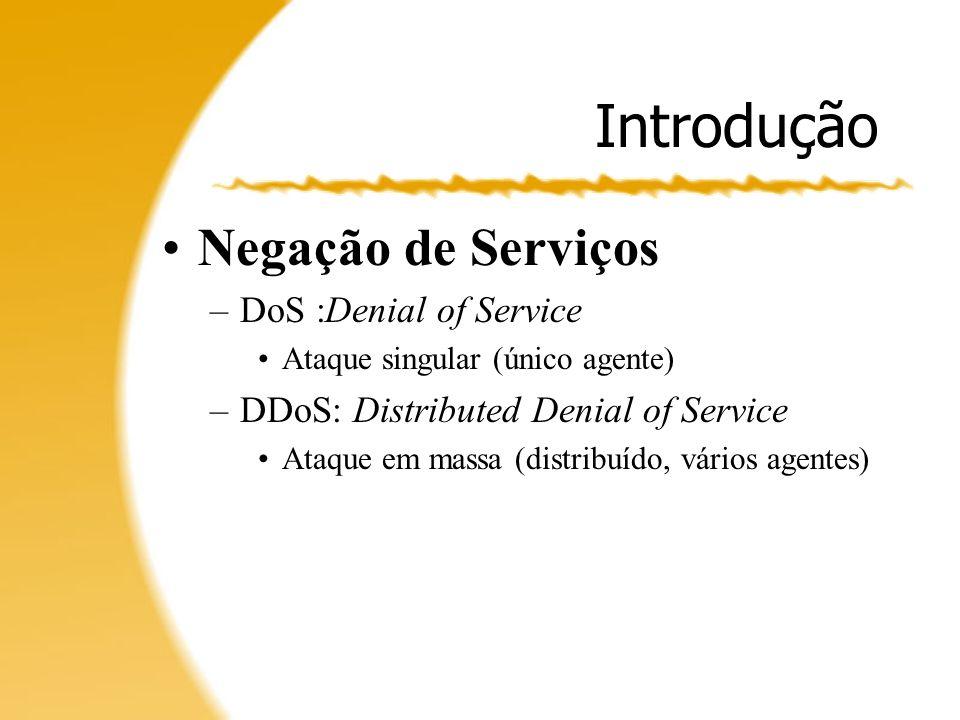 Introdução Negação de Serviços –Interrompem atividades legítimas Web Browsers; Streaming; Bancos Online;