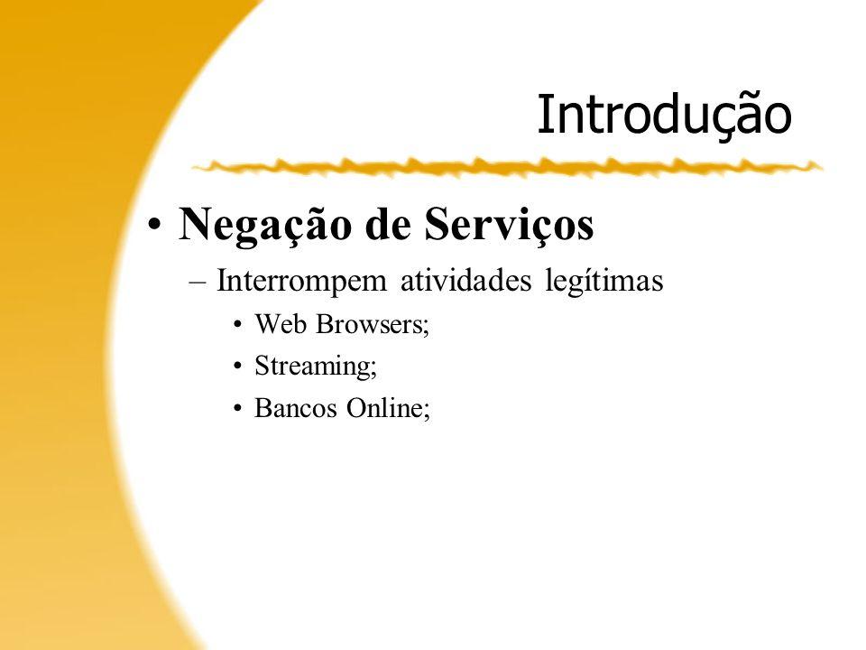 Conclusão Muitos ataques, poucas vítimas; Mudança de alvos: –Deterioração de serviços; –VoIP; Novas defesas, novos ataques.