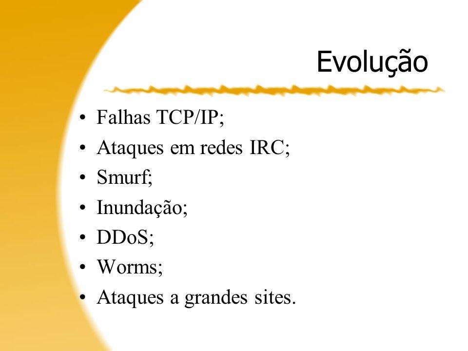 Ataques Controle sobre agentes; –Bots de IRC; –Infecção por worms.