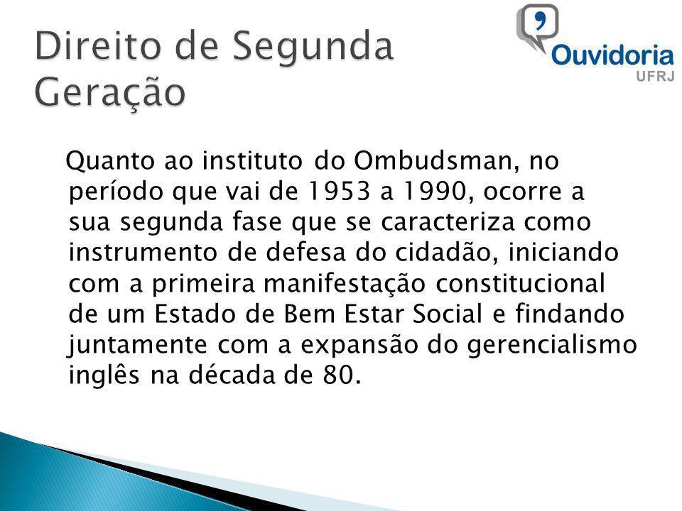 Quanto ao instituto do Ombudsman, no período que vai de 1953 a 1990, ocorre a sua segunda fase que se caracteriza como instrumento de defesa do cidadã