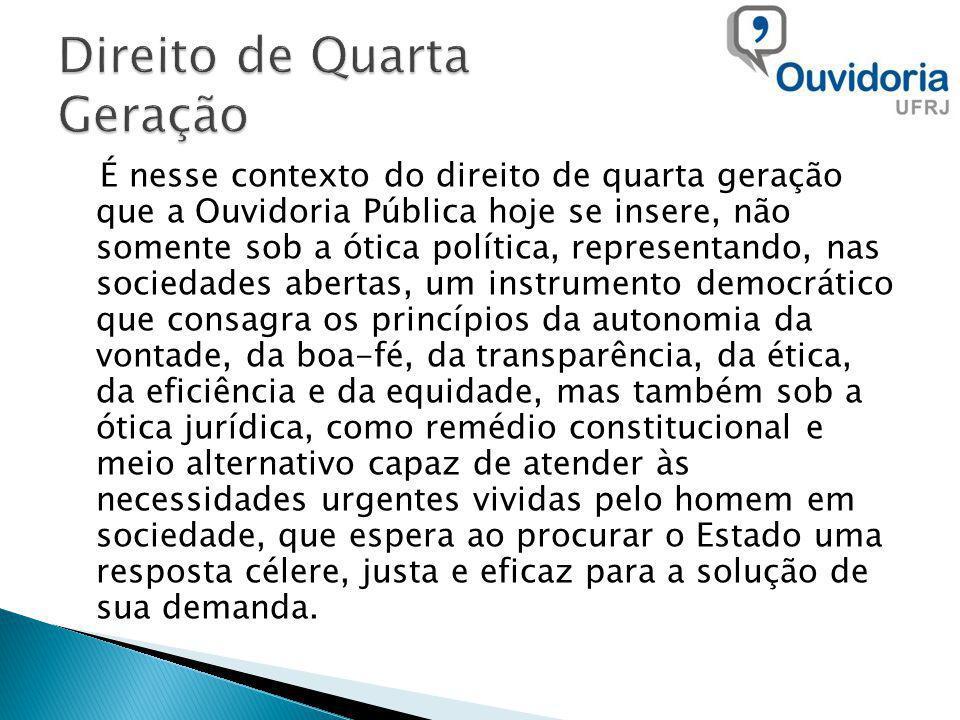 É nesse contexto do direito de quarta geração que a Ouvidoria Pública hoje se insere, não somente sob a ótica política, representando, nas sociedades
