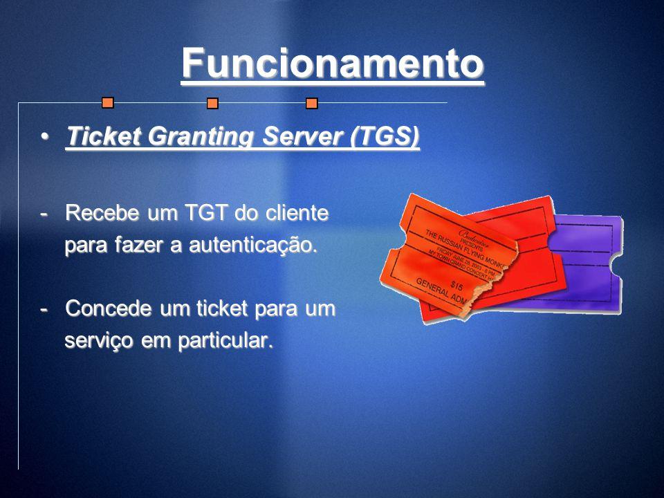 Funcionamento Ticket Granting Server (TGS)Ticket Granting Server (TGS) -Recebe um TGT do cliente para fazer a autenticação. para fazer a autenticação.