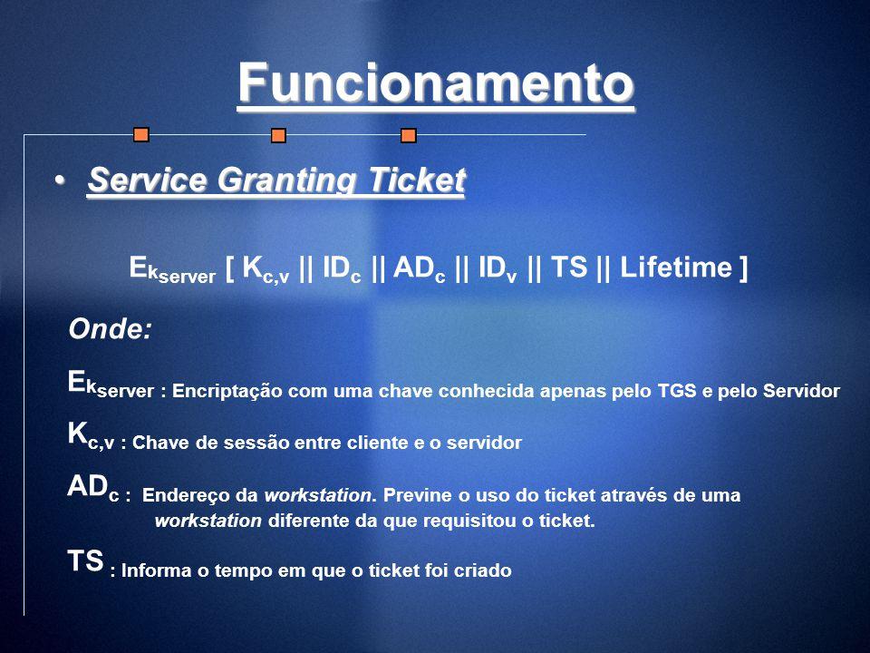 Funcionamento Service Granting TicketService Granting Ticket E k server [ K c,v || ID c || AD c || ID v || TS || Lifetime ] Onde: E k server : Encript