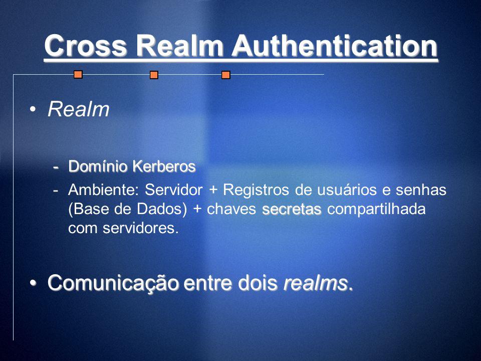 Cross Realm Authentication Realm -Domínio Kerberos secretas -Ambiente: Servidor + Registros de usuários e senhas (Base de Dados) + chaves secretas com