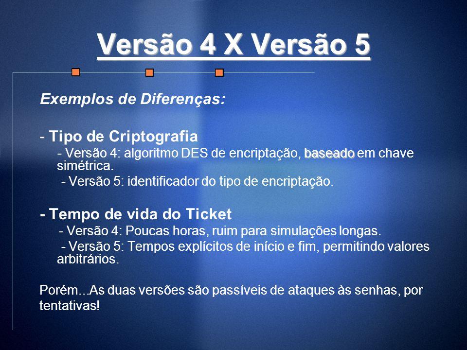 Versão 4 X Versão 5 Exemplos de Diferenças: - Tipo de Criptografia baseado - Versão 4: algoritmo DES de encriptação, baseado em chave simétrica. - Ver