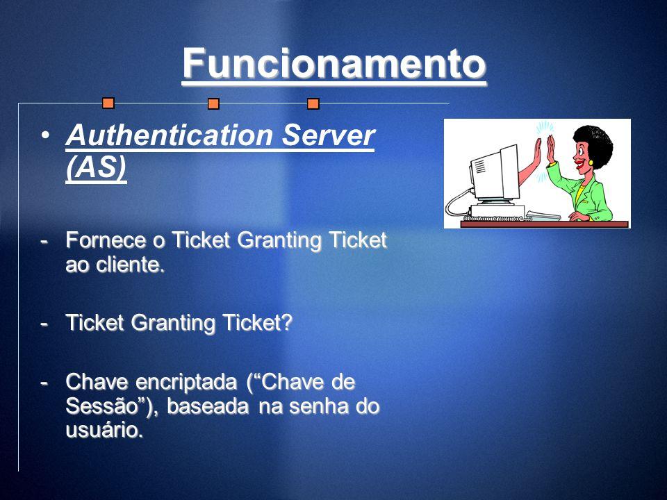 Funcionamento Authentication Server (AS) -Fornece o Ticket Granting Ticket ao cliente. -Ticket Granting Ticket? -Chave encriptada (Chave de Sessão), b