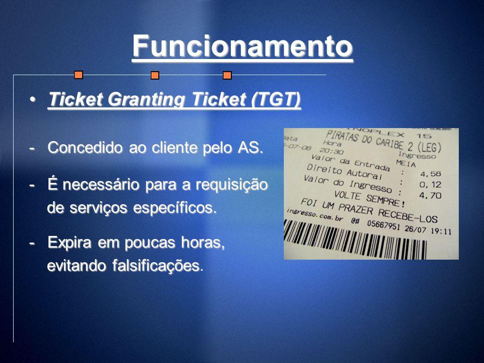 Funcionamento Ticket Granting Ticket (TGT)Ticket Granting Ticket (TGT) -Concedido ao cliente pelo AS. -É necessário para a requisição de serviços espe