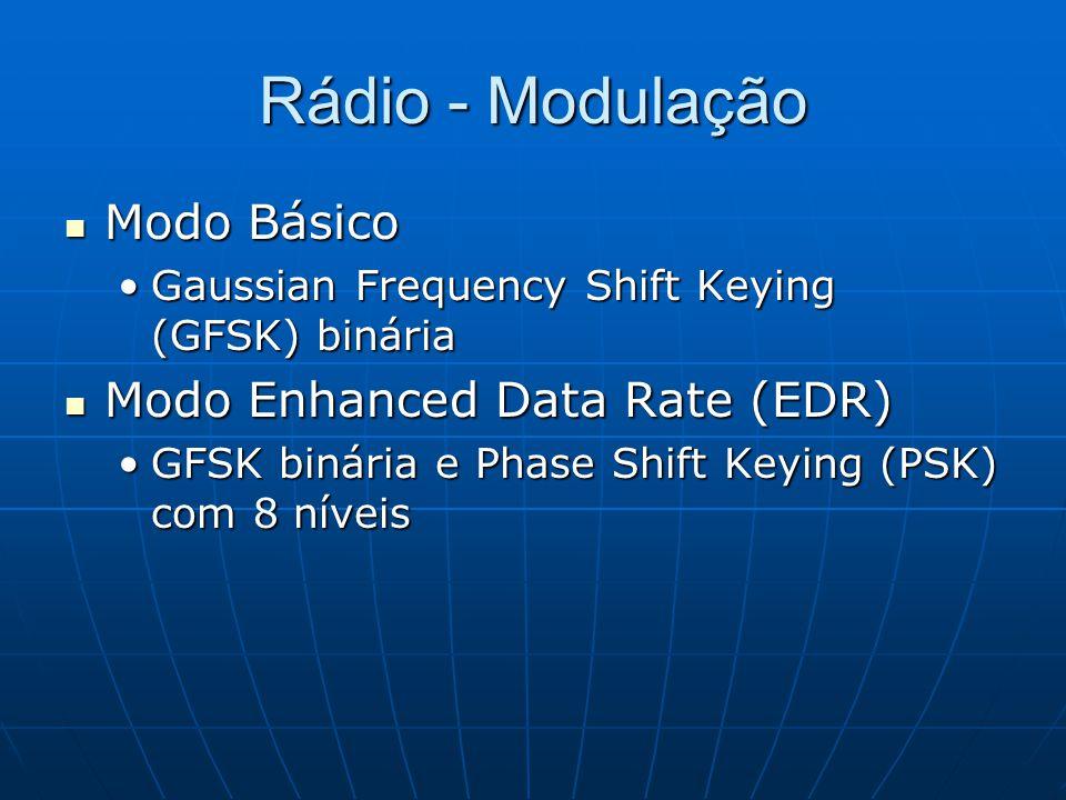 Rádio - Modulação Modo Básico Modo Básico Gaussian Frequency Shift Keying (GFSK) bináriaGaussian Frequency Shift Keying (GFSK) binária Modo Enhanced Data Rate (EDR) Modo Enhanced Data Rate (EDR) GFSK binária e Phase Shift Keying (PSK) com 8 níveisGFSK binária e Phase Shift Keying (PSK) com 8 níveis