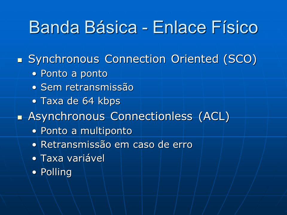 Banda Básica - Enlace Físico Synchronous Connection Oriented (SCO) Synchronous Connection Oriented (SCO) Ponto a pontoPonto a ponto Sem retransmissãoSem retransmissão Taxa de 64 kbpsTaxa de 64 kbps Asynchronous Connectionless (ACL) Asynchronous Connectionless (ACL) Ponto a multipontoPonto a multiponto Retransmissão em caso de erroRetransmissão em caso de erro Taxa variávelTaxa variável PollingPolling