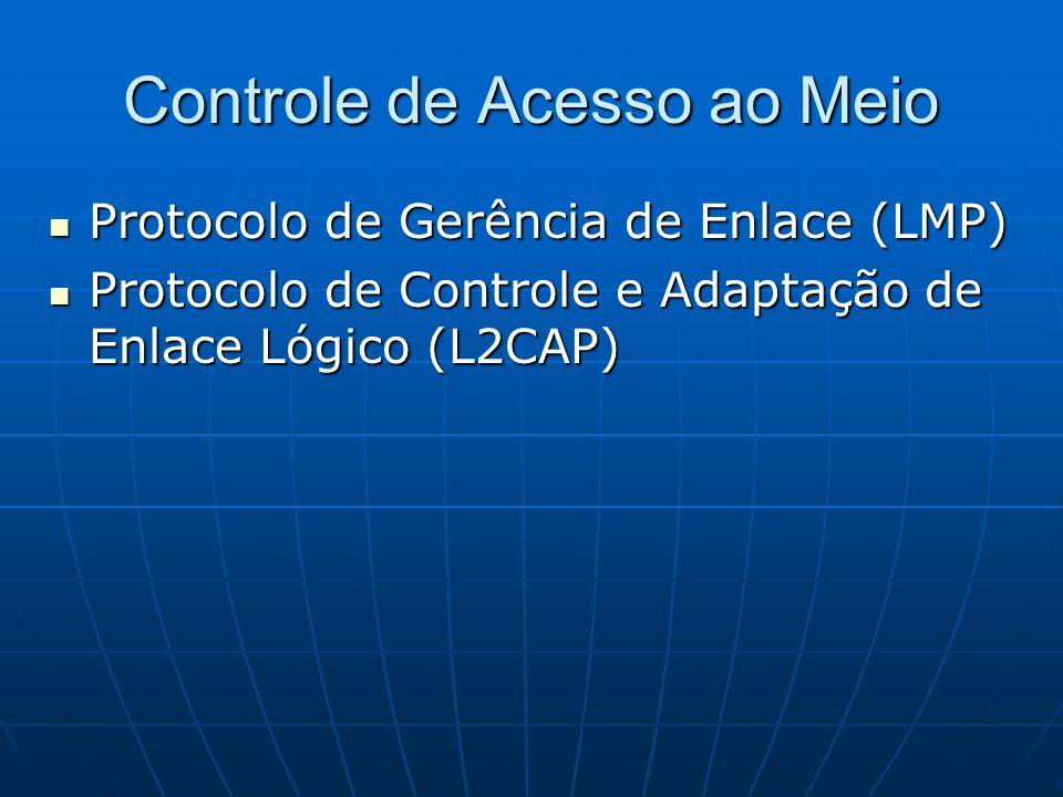 Controle de Acesso ao Meio Protocolo de Gerência de Enlace (LMP) Protocolo de Gerência de Enlace (LMP) Protocolo de Controle e Adaptação de Enlace Lógico (L2CAP) Protocolo de Controle e Adaptação de Enlace Lógico (L2CAP)