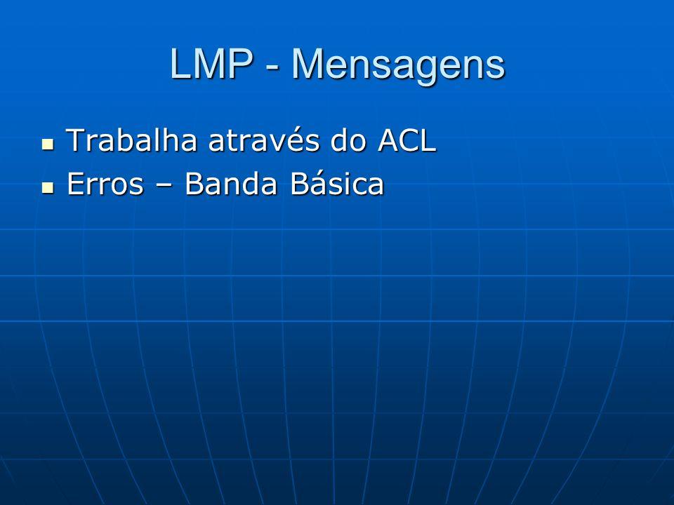 LMP - Mensagens Trabalha através do ACL Trabalha através do ACL Erros – Banda Básica Erros – Banda Básica