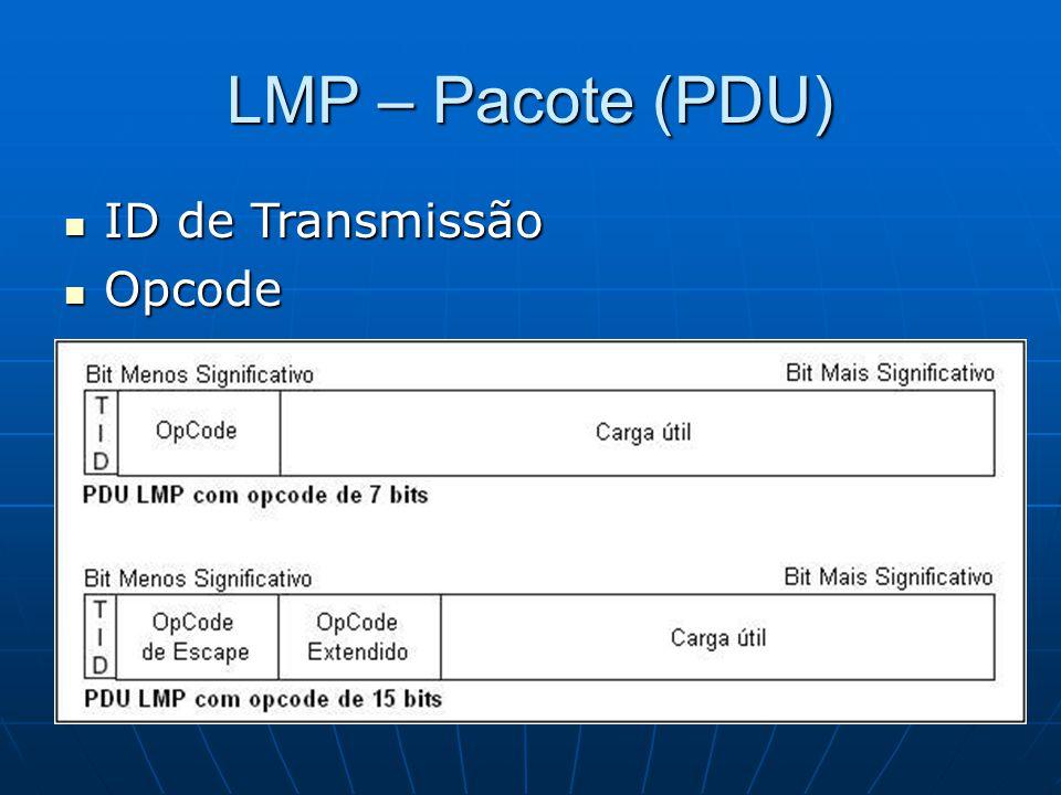 LMP – Pacote (PDU) ID de Transmissão ID de Transmissão Opcode Opcode