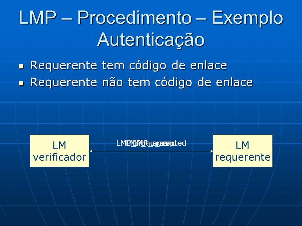LMP – Procedimento – Exemplo Autenticação Requerente tem código de enlace Requerente tem código de enlace Requerente não tem código de enlace Requerente não tem código de enlace LM verificador LM requerente LMP_au_randLMP_sresLMP_not_accepted