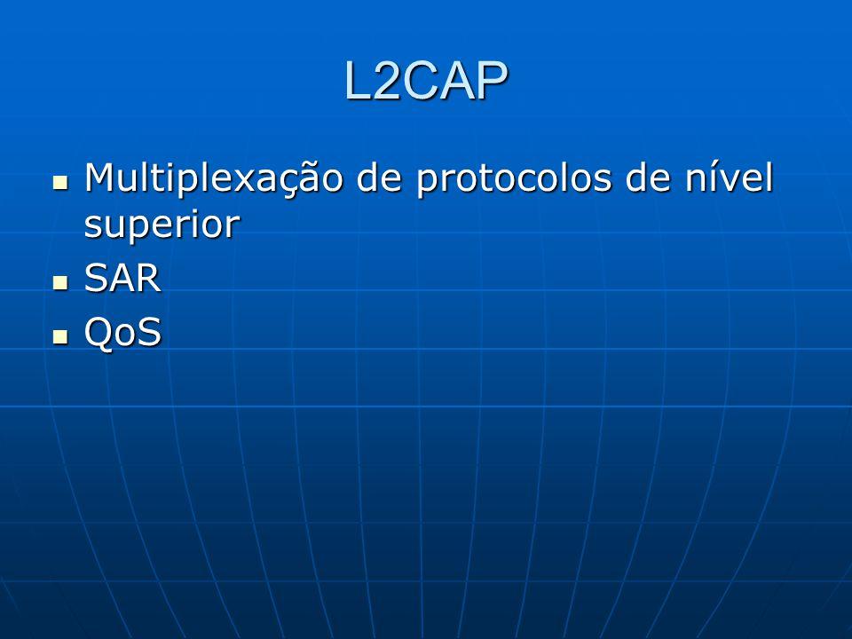 L2CAP Multiplexação de protocolos de nível superior Multiplexação de protocolos de nível superior SAR SAR QoS QoS