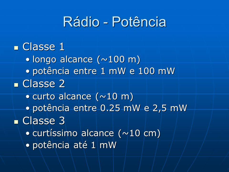 Rádio - Potência Classe 1 Classe 1 longo alcance (~100 m)longo alcance (~100 m) potência entre 1 mW e 100 mWpotência entre 1 mW e 100 mW Classe 2 Clas