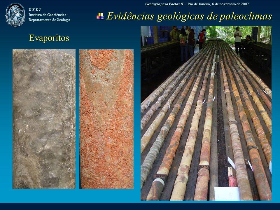 Geologia para Poetas II – Rio de Janeiro, 6 de novembro de 2007 U F R J Instituto de Geociências Departamento de Geologia Evidências geológicas de paleoclimas Evidências geológicas de paleoclimas Evaporitos