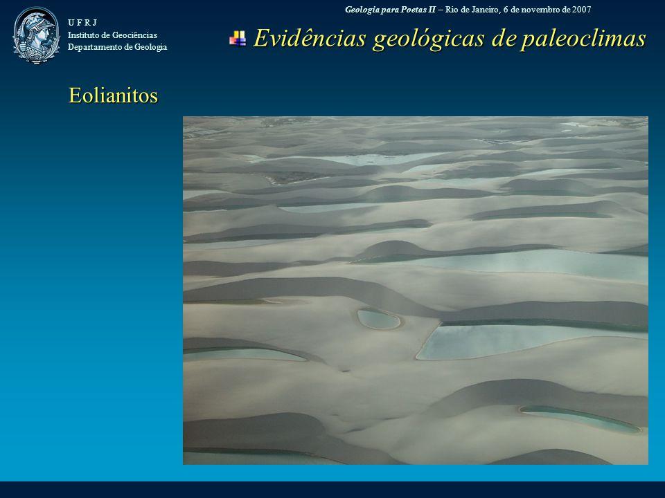 Geologia para Poetas II – Rio de Janeiro, 6 de novembro de 2007 U F R J Instituto de Geociências Departamento de Geologia Evidências geológicas de paleoclimas Evidências geológicas de paleoclimas Eolianitos