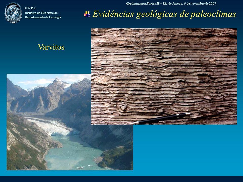 Geologia para Poetas II – Rio de Janeiro, 6 de novembro de 2007 U F R J Instituto de Geociências Departamento de Geologia Evidências geológicas de paleoclimas Evidências geológicas de paleoclimas Varvitos