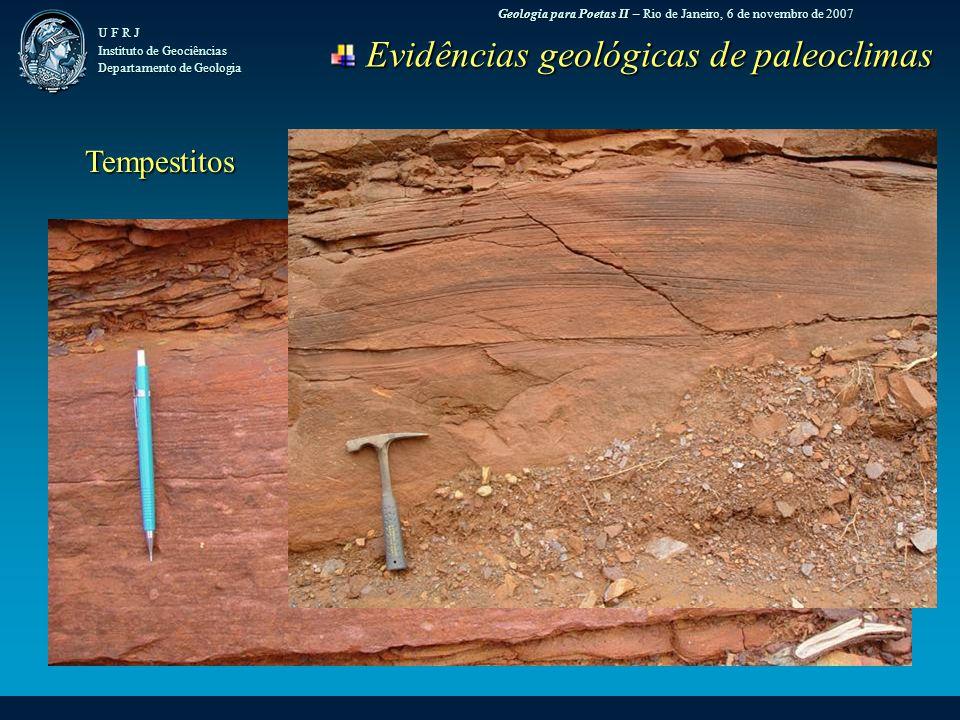 Geologia para Poetas II – Rio de Janeiro, 6 de novembro de 2007 U F R J Instituto de Geociências Departamento de Geologia Evidências geológicas de paleoclimas Evidências geológicas de paleoclimas Tempestitos