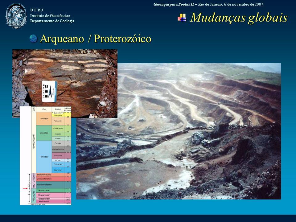 Geologia para Poetas II – Rio de Janeiro, 6 de novembro de 2007 U F R J Instituto de Geociências Departamento de Geologia Mudanças globais Mudanças globais Arqueano / Proterozóico Arqueano / Proterozóico