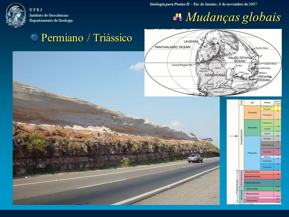 Geologia para Poetas II – Rio de Janeiro, 6 de novembro de 2007 U F R J Instituto de Geociências Departamento de Geologia Mudanças globais Mudanças globais Permiano / Triássico Permiano / Triássico