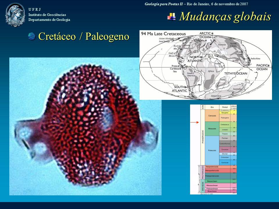 Geologia para Poetas II – Rio de Janeiro, 6 de novembro de 2007 U F R J Instituto de Geociências Departamento de Geologia Mudanças globais Mudanças globais Cretáceo / Paleogeno Cretáceo / Paleogeno