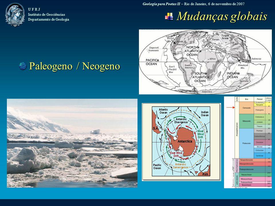 Geologia para Poetas II – Rio de Janeiro, 6 de novembro de 2007 U F R J Instituto de Geociências Departamento de Geologia Mudanças globais Mudanças globais Paleogeno / Neogeno Paleogeno / Neogeno