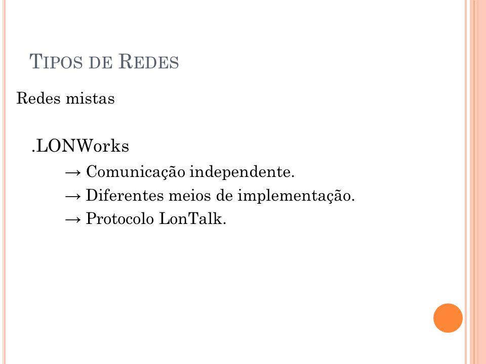 T IPOS DE R EDES Redes mistas.LONWorks Comunicação independente.