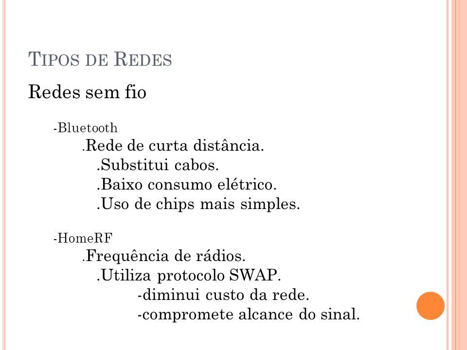 T IPOS DE R EDES Redes sem fio -Bluetooth.