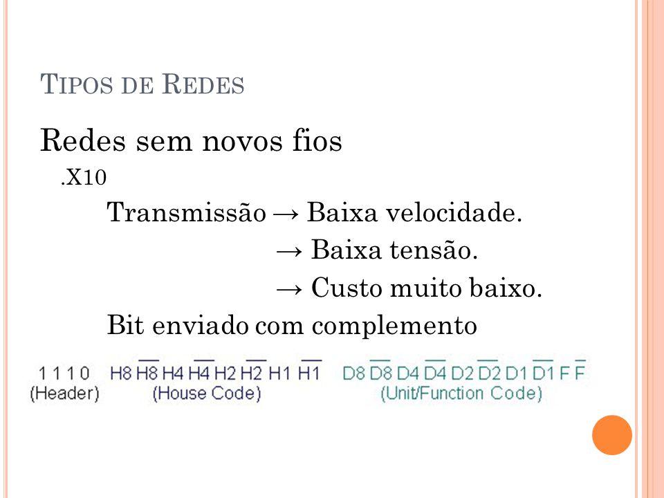 T IPOS DE R EDES Redes sem novos fios.X10 Transmissão Baixa velocidade.