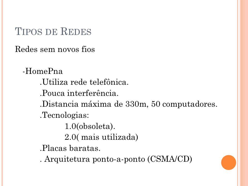 T IPOS DE R EDES Redes sem novos fios -HomePna.Utiliza rede telefônica..Pouca interferência..Distancia máxima de 330m, 50 computadores..Tecnologias: 1.0(obsoleta).