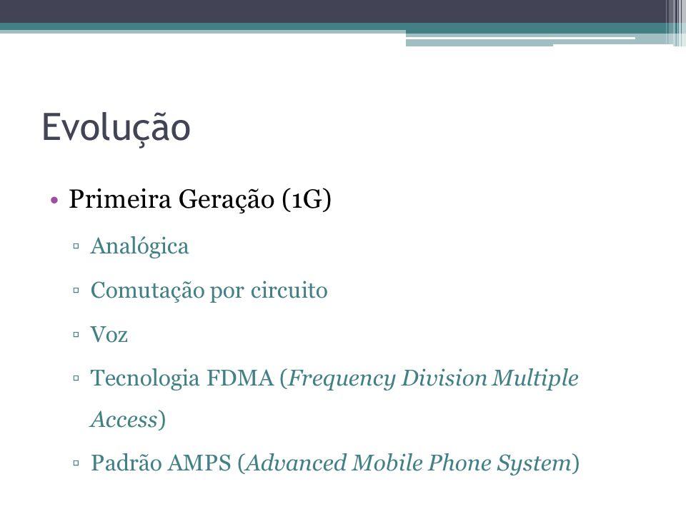 Evolução Primeira Geração (1G) Analógica Comutação por circuito Voz Tecnologia FDMA (Frequency Division Multiple Access) Padrão AMPS (Advanced Mobile