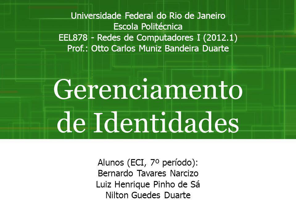 Introdução Gerenciamento de Identidades Identificação faz parte do nosso cotidiano Surgiu com a crescente necessidade de lidar com a autenticação na Internet