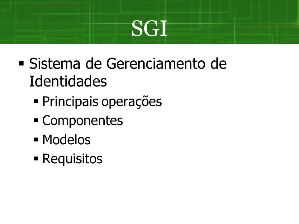 SGI Sistema de Gerenciamento de Identidades Principais operações Componentes Modelos Requisitos