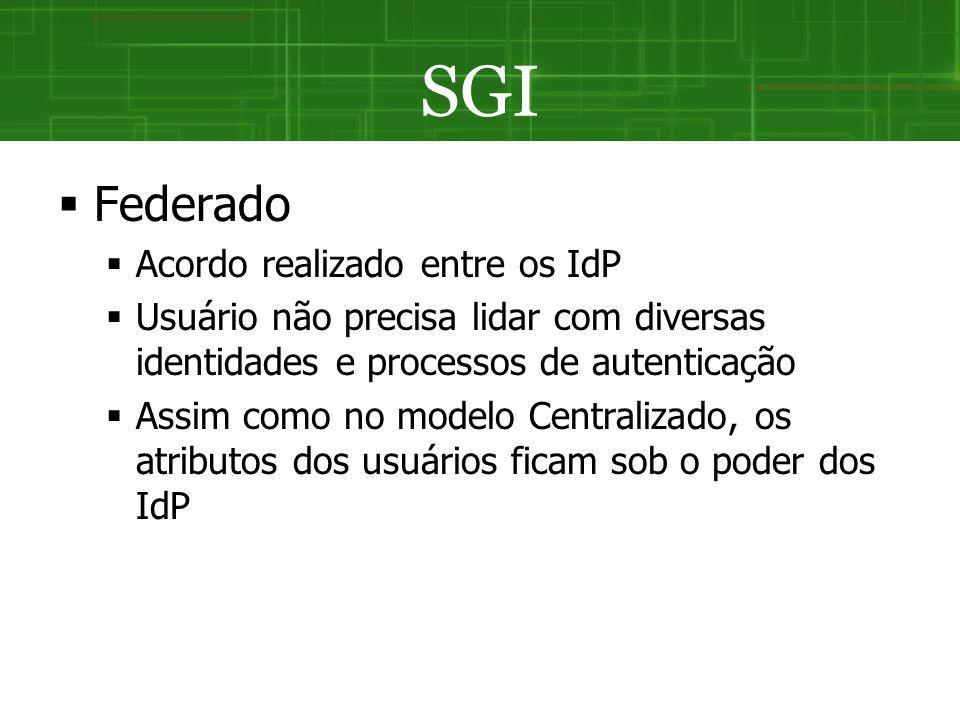 SGI Federado Acordo realizado entre os IdP Usuário não precisa lidar com diversas identidades e processos de autenticação Assim como no modelo Central
