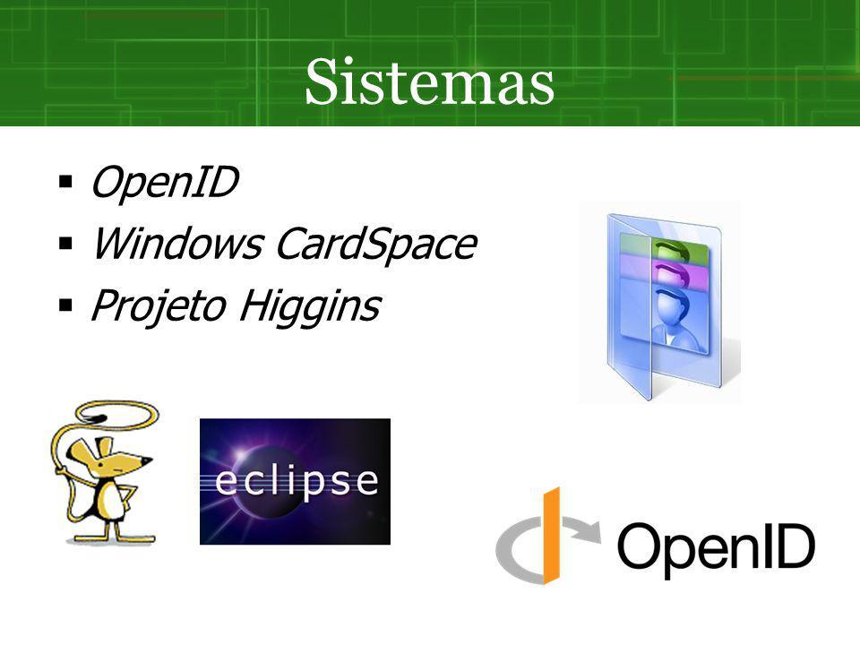 Sistemas OpenID Windows CardSpace Projeto Higgins