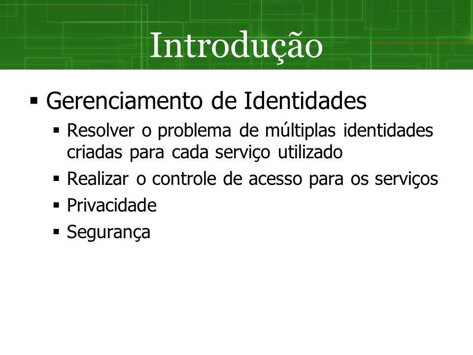 Gerenciamento de Identidades Resolver o problema de múltiplas identidades criadas para cada serviço utilizado Realizar o controle de acesso para os se