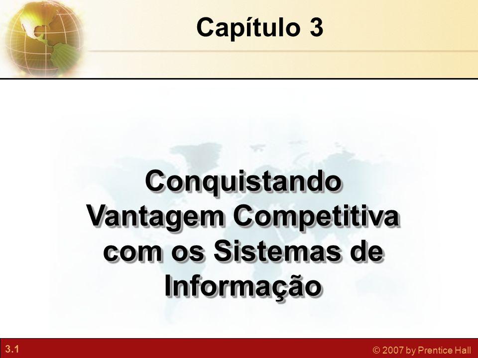 3.1 © 2007 by Prentice Hall Capítulo 3 Conquistando Vantagem Competitiva com os Sistemas de Informação